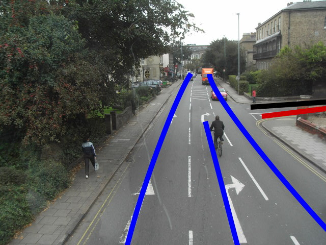 Showing main traffic paths at this junction.